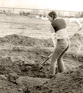 Me during a high school mock archaeological dig.