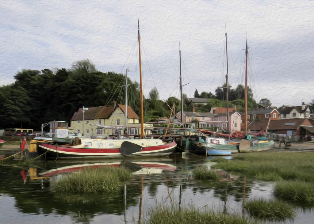 Pin Mill, a hamlet on the tidal River Orwell, near Chelmondiston in south Suffolk, UK. Photo by K Loving, 2013